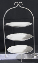 Silver Three Tiered Server with Plates 1602519446 - Silver 3 Tier Plate holder